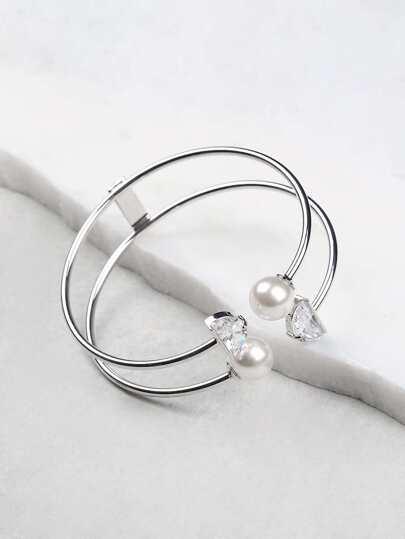 Cut Out Pearl End Bracelet SILVER