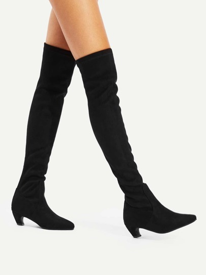 Pointed Toe Back Zipper Suede Boots