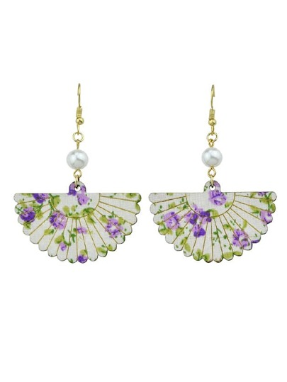 Purple Wood Sector Pattern With Simulated-Pearl Drop Earrings