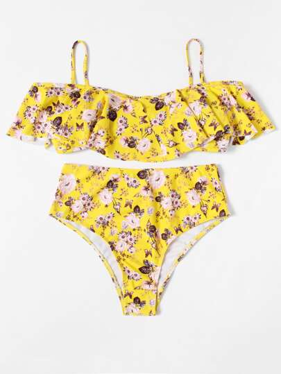 Calico Print Ruffle Bikini Set