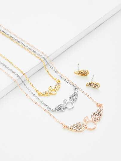Ensemble de boucles d\'oreille & collier de chaîne avec pendentif d\'aile