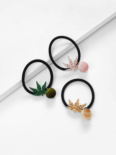 Maple Leaves  Decorated Hair Tie 3pcs