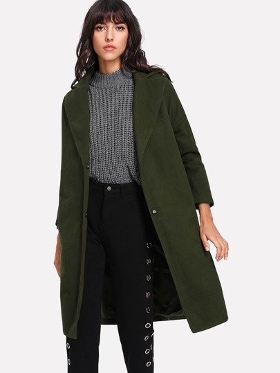 Drop Shoulder Slit Side Coat