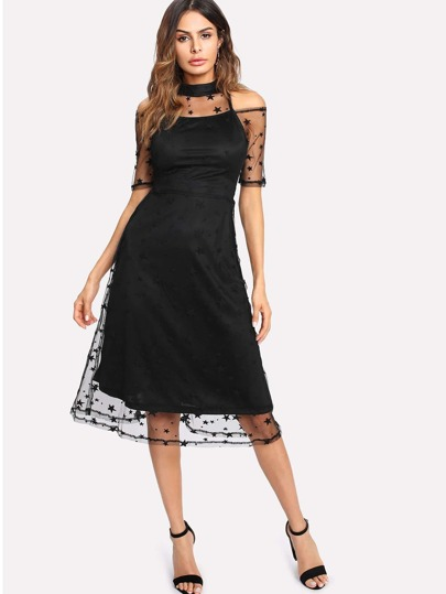 Illusion Neck Star Mesh Overlay Dress