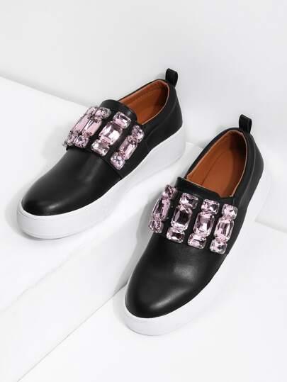Rhinestone Decorated PU Sneakers