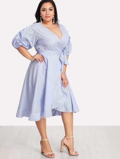 Lantern Sleeve Ruffle Trim Pinstripe Dress