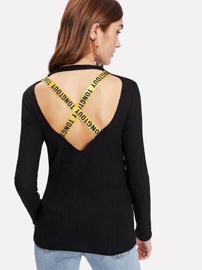 Camiseta en canalé con la espalda cruzada
