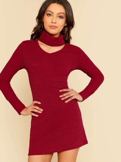 Front Cutout Turtleneck Dress