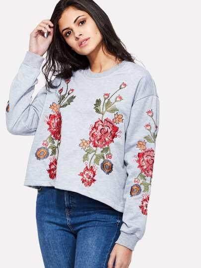 Rose Embroidery Drop Shoulder Top