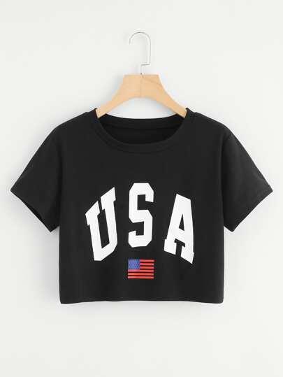 USA Flag Print Crop Tee