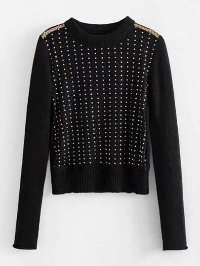Rhinestone Overlay Mesh Panel Sweater