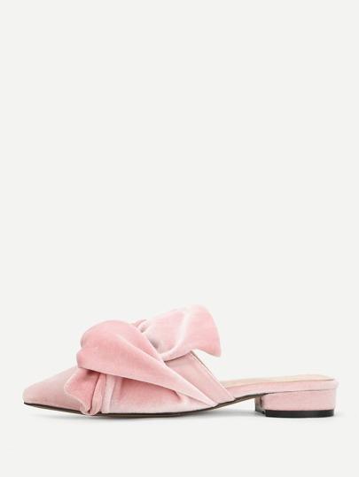 Zapatillas de terciopelo de punta con diseño de nudo