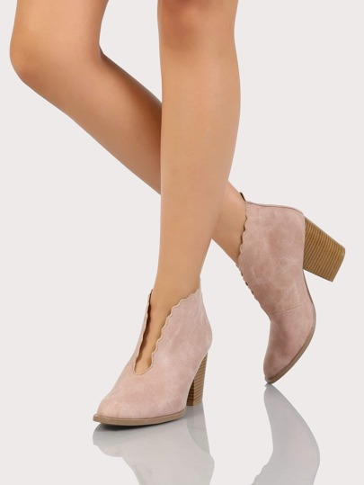 Pointy Toe Front Cut Out Scalloped Boots BLUSH