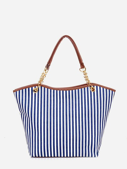 Vertical Striped Tote Bag With Tassel Detail