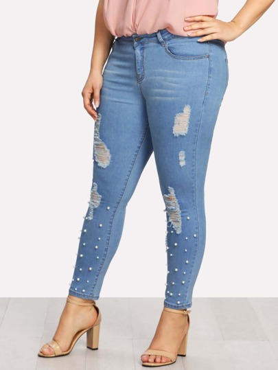 Pearl Detail Ripped Tapered Jeans