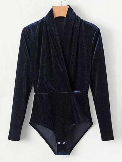 Surplice V Neckline Velvet Bodysuit