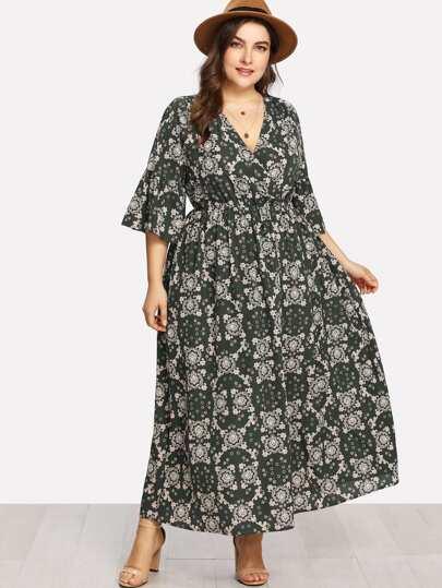 Flower Print Surplice Wrap Dress