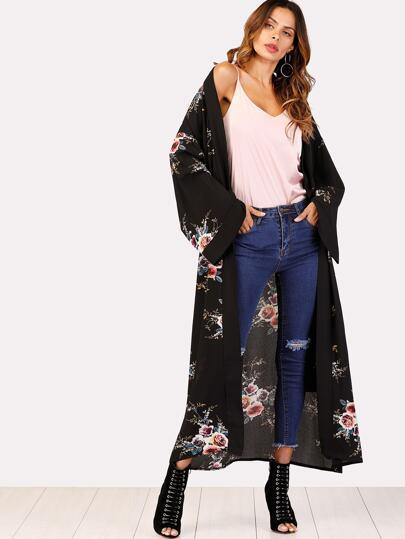 Drop Shoulder Florals Kimono