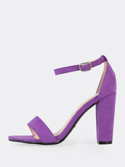 One Band Ankle Strap Chunky Heels PURPLE