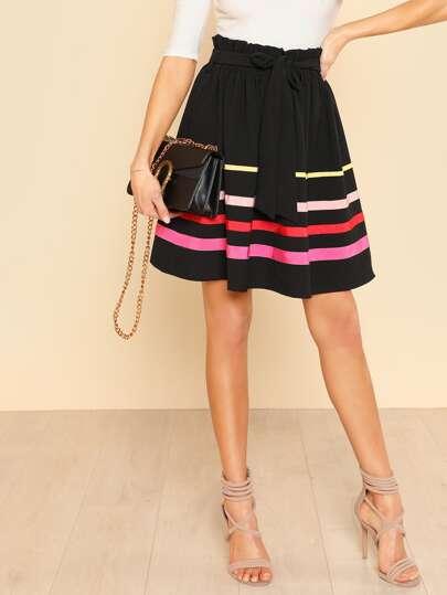 Frilled Waist Striped Flare Skirt