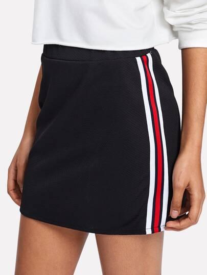 Striped Tape Side Skirt