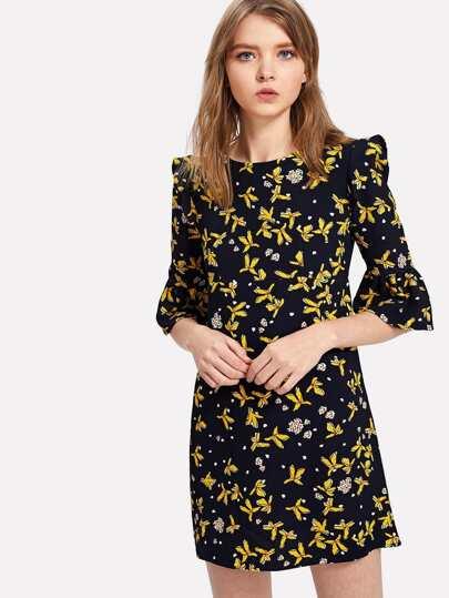 Flounce Sleeve Calico Print Dress