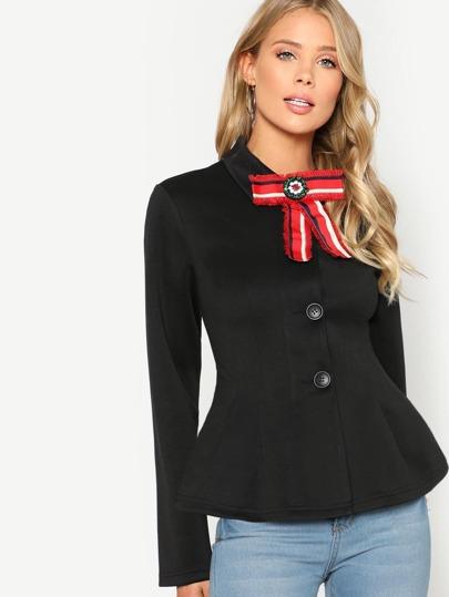 Bow Embellished Button Up Peplum Jacket