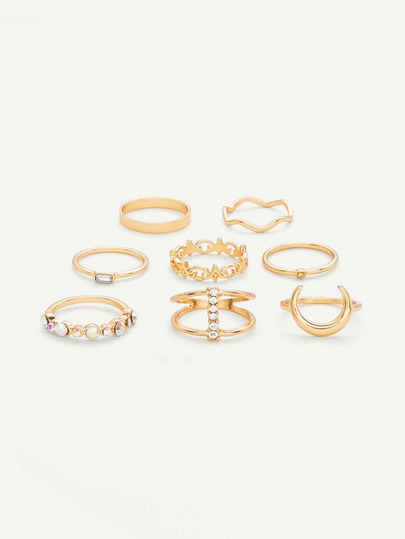 Crescent Ring Set 8pcs