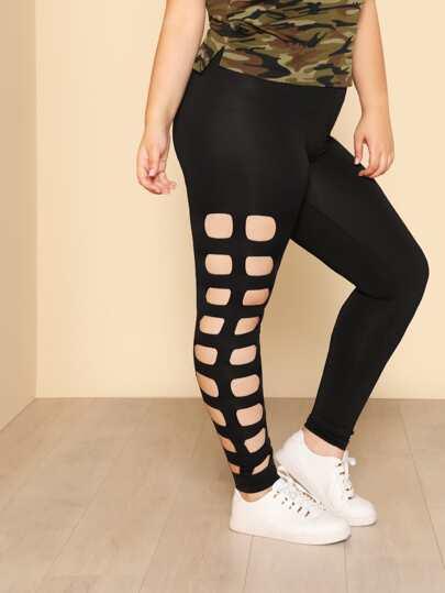 Ladder Cut Side Skinny Leggings