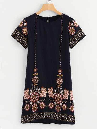 Tribal Floral Print Tunic Dress