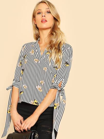 Bow Tied Cuff Mixed Print Top