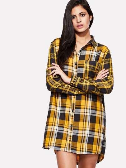 Check Plaid Dip Hem Dress