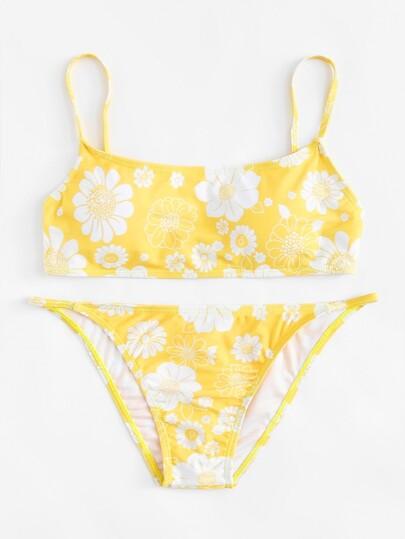 Flower Print Bikini Set