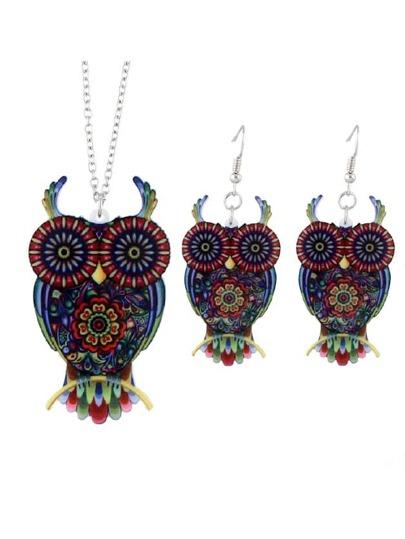 Owl Necklace Earrings Set