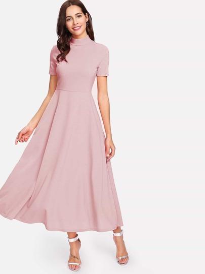 Mock Neck Fit & Flare Dress