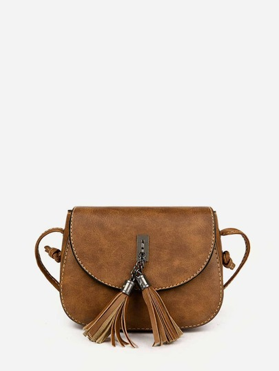 Double Tassel Flap PU Crossbody Bag