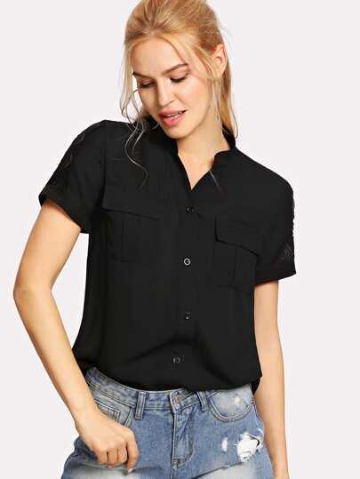 Button Up Dip Hem Shirt