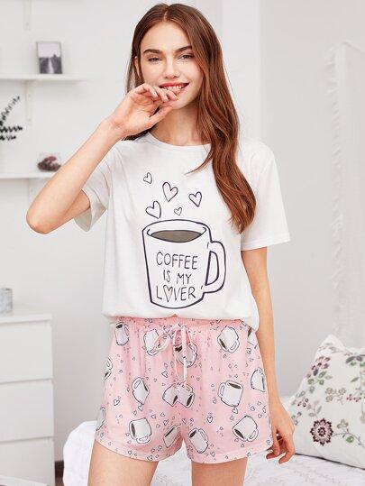 Conjunto de pijama con estampado y cordón