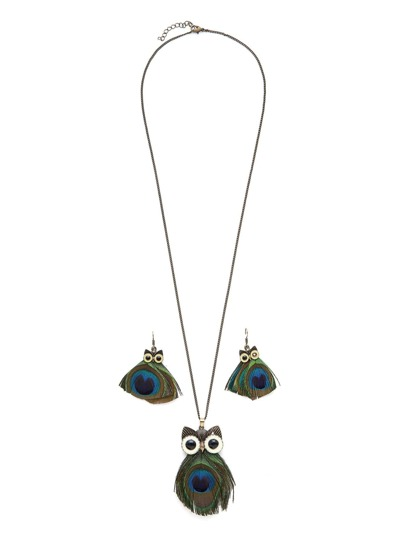 Owl & Feather Design Necklace & Earring Set