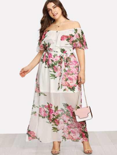 Flounce Layered Neckline Floral Dress