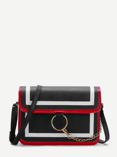 Chain Detail Flap Crossbody Bag