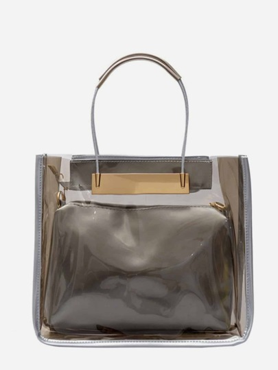 Transparent Handbag With Clutch 2pcs