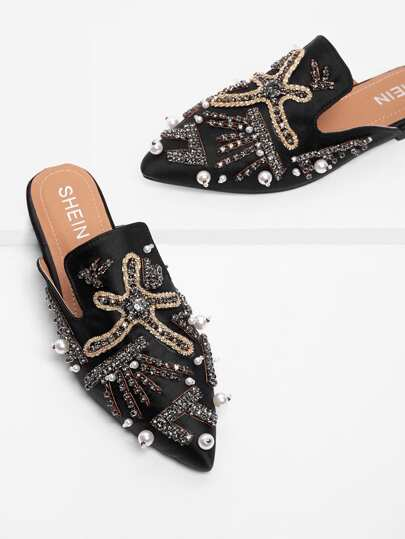 Chaussures plates avec perle fausse & strass