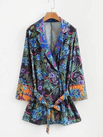 Self Tie Longline Floral kimono