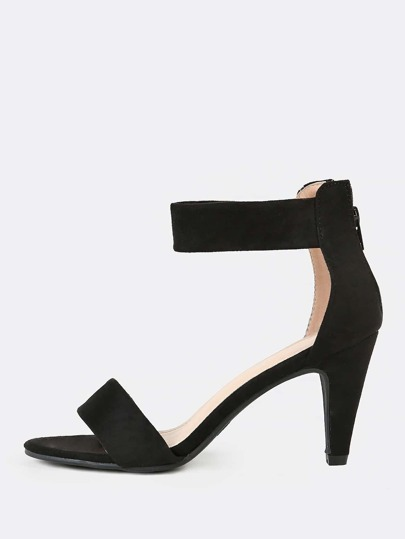 Open Toe Faux Suede Heel with Thick Cuff BLACK