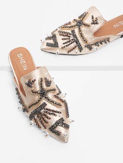 Scarpe piatte in raso con perle sintetiche e strass