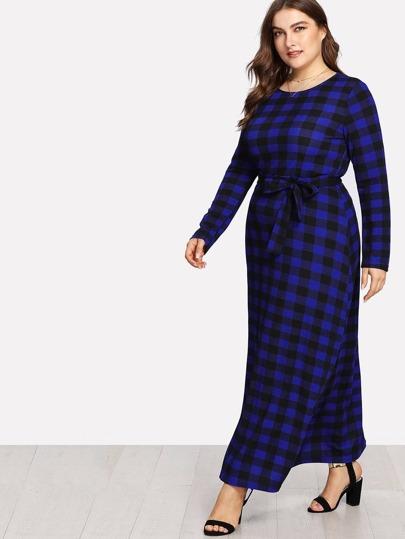 Check Plaid Full Length Dress