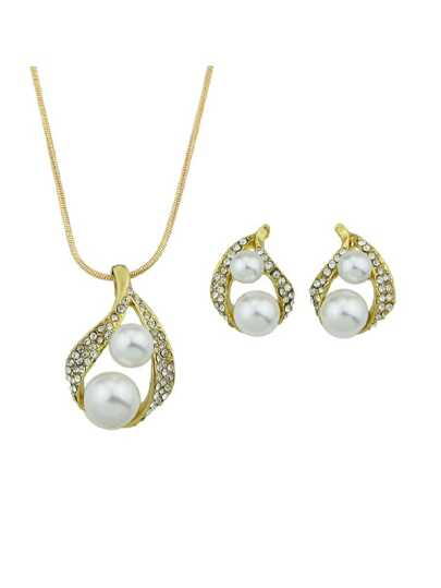 Elegant Pearl Pendant  Necklace and Earrings