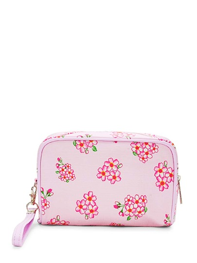 Flower Print Pouch With Wristlet