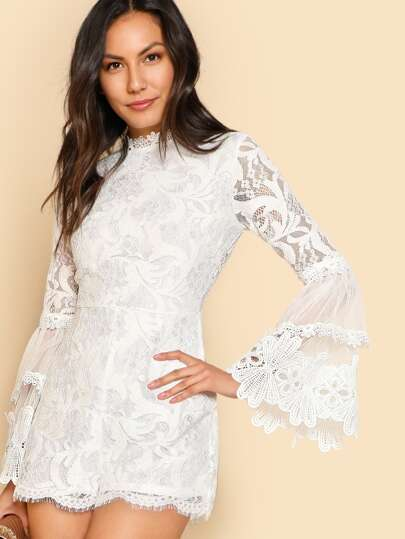 Floral Lace Bell Sleeve Romper WHITE